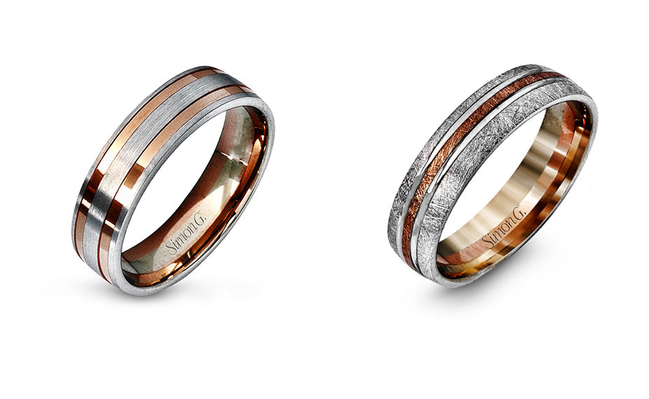 Rose gold wedding bands at Clowes Jewellers